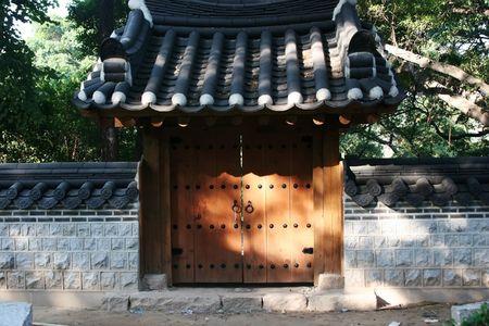 A Korean garden gate