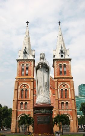 Notre Dame with Virgin Mary in front in Ho Chi Minh City, Vietnam Stock Photo
