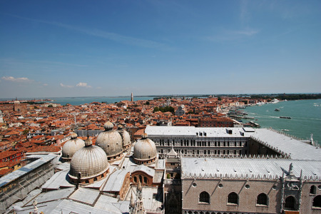 ducale: Venice Aerial view with San Marco Basilica and Palazzo Ducale in the foreground, Venice, Italy Stock Photo
