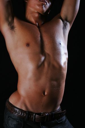 navel: an asian male body strenching out