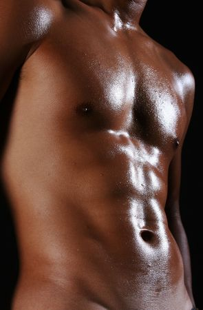 nipple: A  young asian male body with well-toned muscles