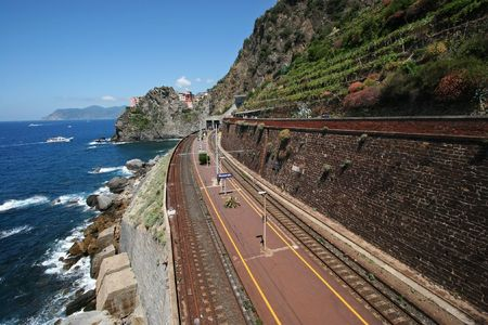 Manarola village and train station, Cinque Terre, Italy Stock Photo