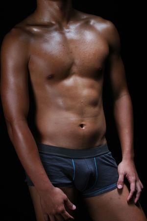 hombres gays: asian hunky joven boxeador en troncos