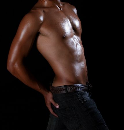 hunky young asian in blue jeans Stock Photo - 3596214