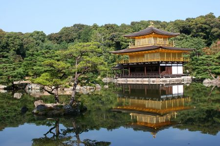 Temple of the golden pavillion (Kinkakuji) in Kyoto, Japan