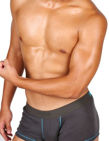 hunky asian flexing his muscles over white background Stock Photo - 3786485