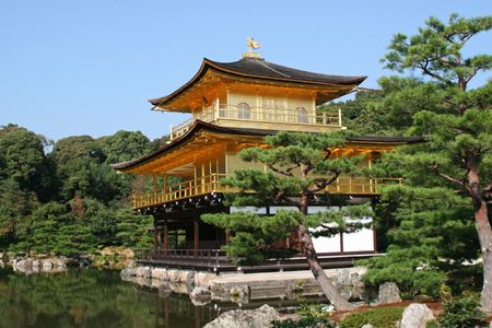 Kinkakuji, the temple of golden pavilion in kyoto, Japan