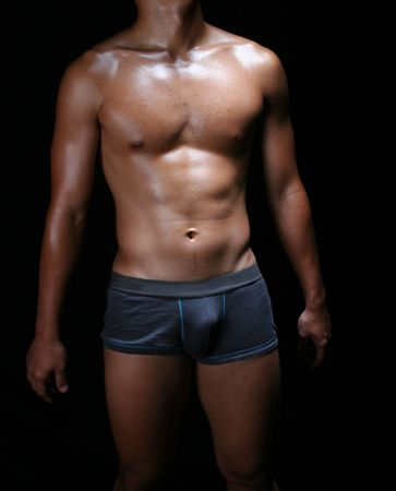 naked male body: hunky asian young man in blue boxer trunks