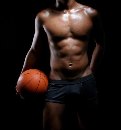 hunky asian basketball player in trunks Stock Photo - 3925379