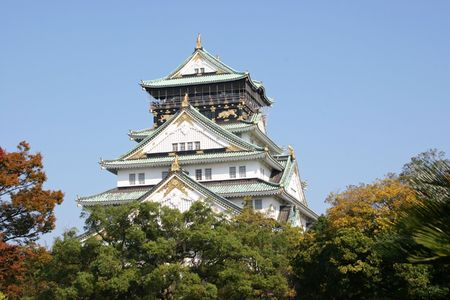 landscape view of the osaka castle main tower in early autumn