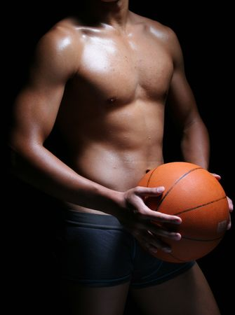 beefcake: hunky asian basketball player in trunks