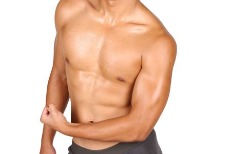 hunky asian flexing his muscles over white background 1 Stock Photo - 4046123