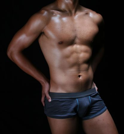 a hunky young asian man in sexy boxer trunks  Stock Photo