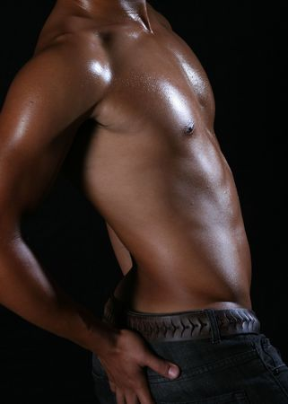 armpit: perfil lateral de un joven asi�tico Hunky