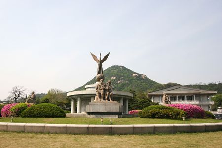 monument in front of south korean presidential palace, the blue house Stock Photo