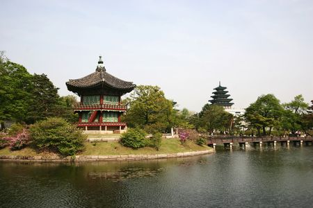 Hyangwonjeong in the royal palace garden, south korea Stock Photo