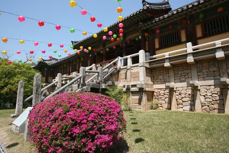 bulguksa temple in gyeongju, south korea, with lanterns celebrating buddhas birthday