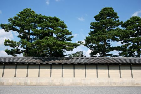 earthen wall: Outside the earthen wall of kyoto imperial palace, japan