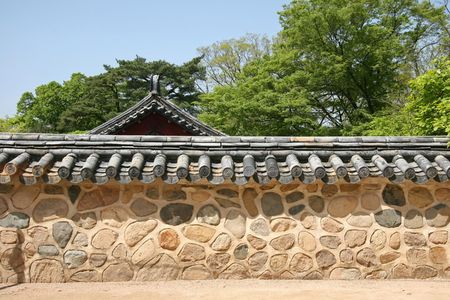 traditional korean wall in an ancient temple in gyeongju
