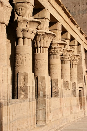 The columnnade in the inner courtyard of Isis Temple on Philae Island, Aswan, Egypt