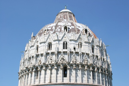 The well decorated dome of Pisa's Baptistery, Tuscany, Italy photo
