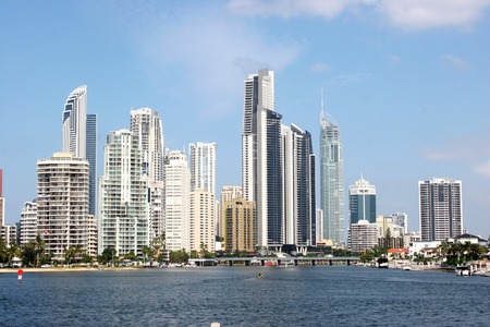 surfers: modern buildings in Surfers Paradise, Gold Coast, Australia, view from Nerang River