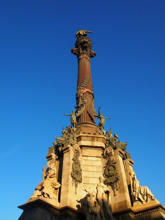 socle: Columbus Monument in Barcelona upon sunset, Spain