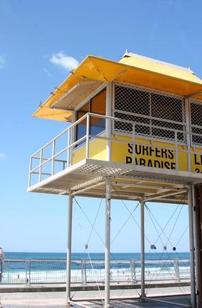 life guard: Bright yellow life guard tower at Surfers Paradise beach, Gold Coast, Australia