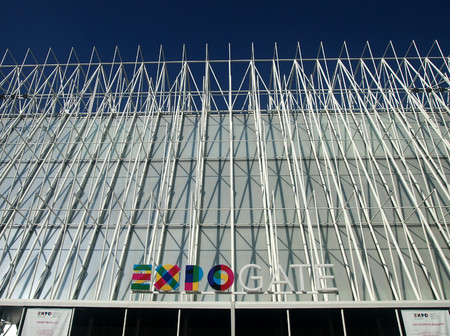 the world expo: Milan, LombardyItaly - Jun 28, 2015: Expo Gate pavilion in front of Castle Sforza, World Expo Milan 2015, with the theme of Feed the Planet