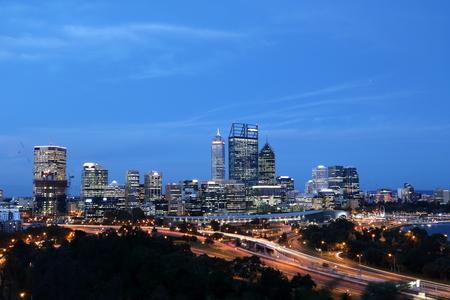 western australia: Night skyline of Perth City Center, Western Australia