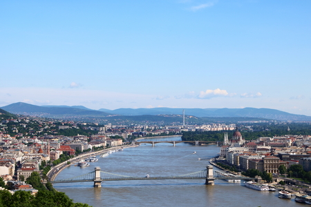 building a chain: Aerial view of Budapest with Danube River in the center, Hungarian Parliament Building on the right, and the Chain Bridge and Margaret Bridge across Danube River