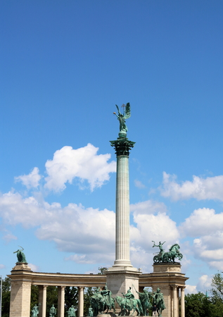 double cross: Millennium Monument at Heroes Square in Budapest, Hungary