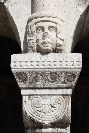 european culture: Head figure as the capital atop the column at the Fishermans Bastion in Budapest, Hungary