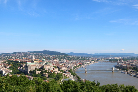 building a chain: Aerial view of Budapest across Danube River, with Chain Bridge and Margaret Bridge and Hungarian Parliament Building in sight Stock Photo