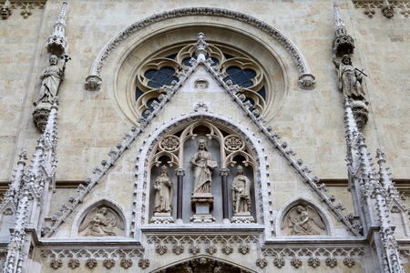 Facade of the Cathedral of the Assumption of the Blessed Virgin Mary, Zagreb, Croatia Stock Photo