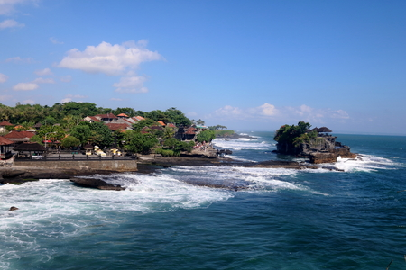Famous Tanah Lot Temple on an offshore rock in Bali, Indonesia