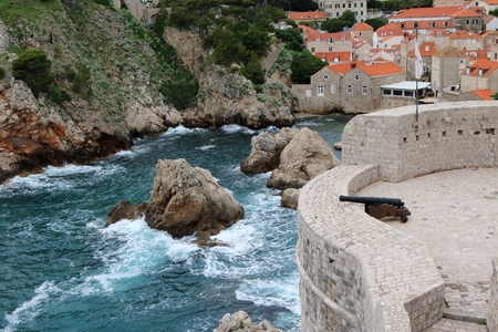 Bokar Tower and the harbour it is guarding, in Dubrovnik, Croatia