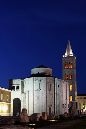 Night scene of Zadars St Donatus Church and the ruins of the Roman Forum,  in the old town, Croatia