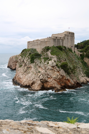 St Lawrence Fortress, also known as Fort Lovrjenac, is outside the western walls of the old town of Dubrovnik, guarding the two entrances to the old town, under an impending storm,  Croatia