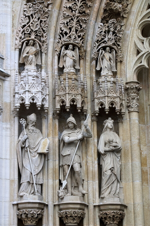 Statues at the Facade of Zagrebs Cathedral of the Assumption of the Blessed Virgin Mary, Zagreb, Croatia