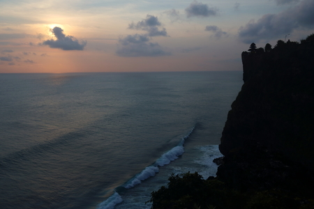 Silhouette of Uluwatu Temple at the dusk, Bali, Indonesia