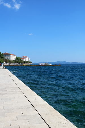 Zadar waterfront of the seawall, facing the Adriatic Sea, Croatia