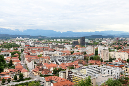 Aerial view of both the old and modern parts of the city Ljubljana, the capital city of Slovenia