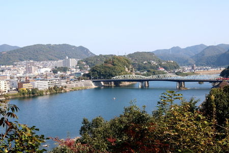Inuyama bridge across the Kiso River, viewed from Inuyama Castle, Japan, in the morning