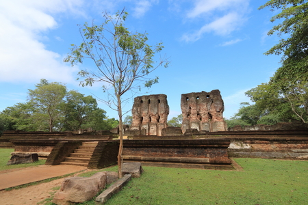 Ruins of the Kings Palace in Polonnaruwa, from the 2nd Kingdom Period, in Sri Lanka Stock Photo