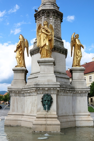The base of Mary Column in front of Zagreb Cathedral, Croatia