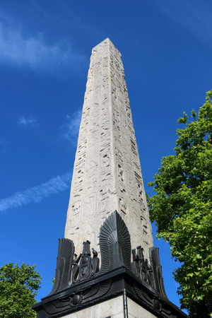 Close up of Cleopatra's Needle in London, United Kingdom