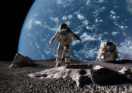 astronauta: El astronauta sobre un fondo de un planeta Foto de archivo