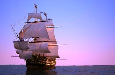 capitan de barco: La nave antigua en el mar