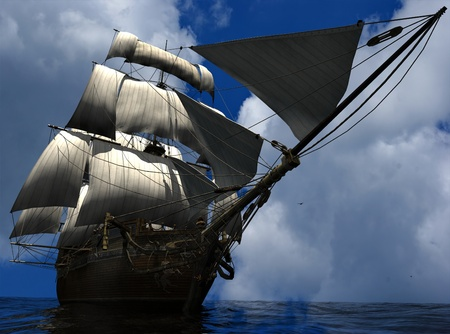 the historical: The ancient ship in the sea